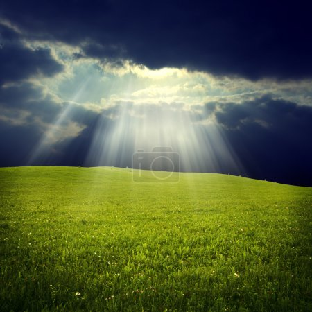 Photo for Green field with jesus light - Royalty Free Image