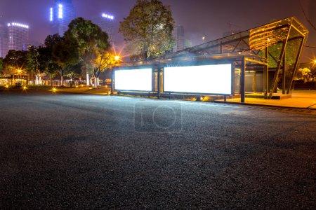 billboard in the roadside at night