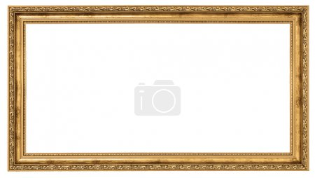 Photo for Extremely long golden frame isolated on white background - Royalty Free Image