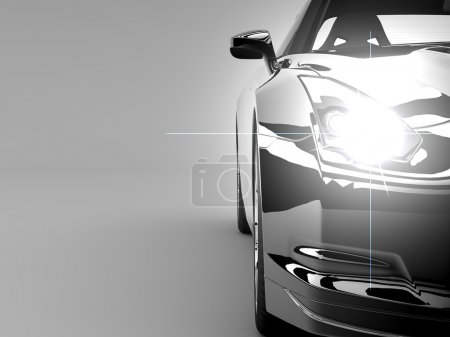 Photo for A generic sport elegant black car illuminated - Royalty Free Image