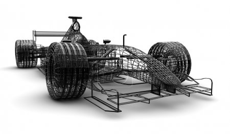Photo for A wireframe formula 1 car on a white background - Royalty Free Image