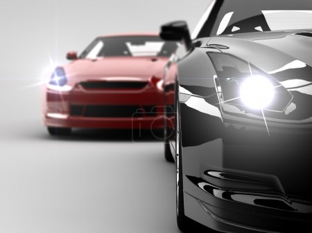 Photo for Two generic sport elegant cars, one red and one black - Royalty Free Image