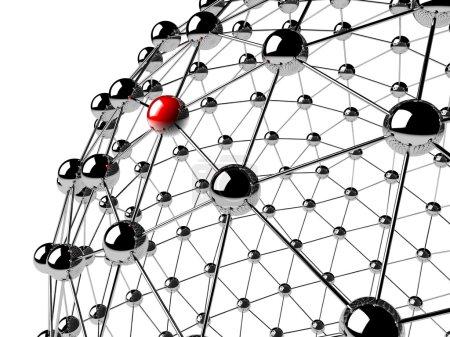 Photo pour Une sphère rouge liée à d'autres grises : concept de réseau - image libre de droit