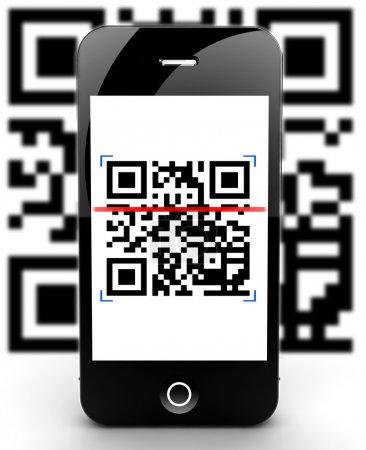 Photo pour Illustration d'un smartphone en scannant un code qr - image libre de droit