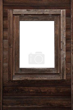 Photo pour Mur de fenêtre en bois avec copyspace blanc carré - image libre de droit