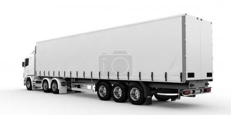 Photo pour Camion de transport blanc isolé sur fond blanc - image libre de droit