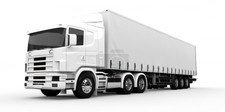 Photo for White transport truck isolated on a white background - Royalty Free Image
