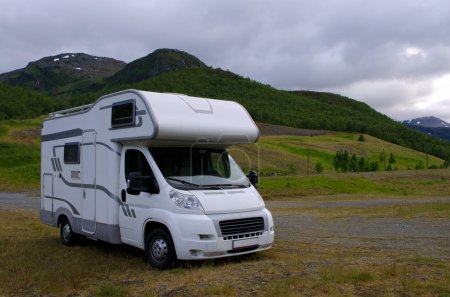 Motorhome/ camper going on vacation over Scandinavia