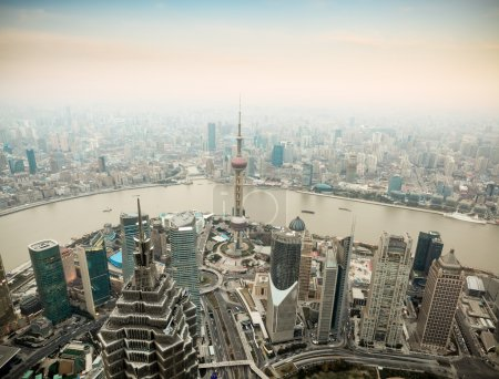 Panoramic view of shanghai at dusk from world fina...