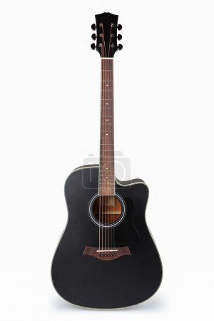 Photo for Black acoustic guitar with white background - Royalty Free Image