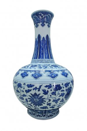 Blue and white with lotus scroll glazed vase
