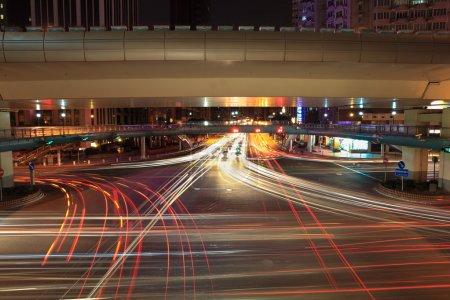 Light trails on the crossroads