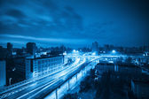 Viaduct at dawn with blue tone