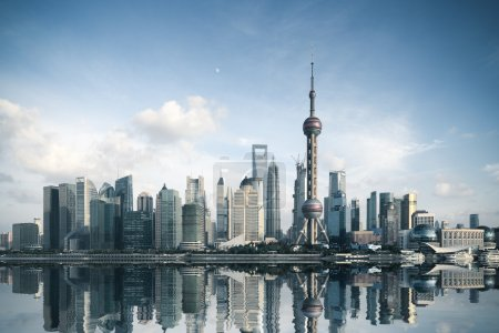 Photo for Shanghai skyline with reflection,China - Royalty Free Image