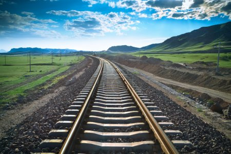 Railway in prairie,the construction of railroad ba...