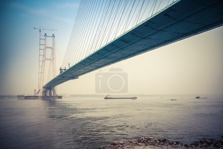 Photo for Cable-stayed bridge construction in yangtze river - Royalty Free Image
