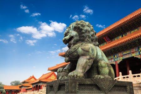 Bronze lion in beijing forbidden city