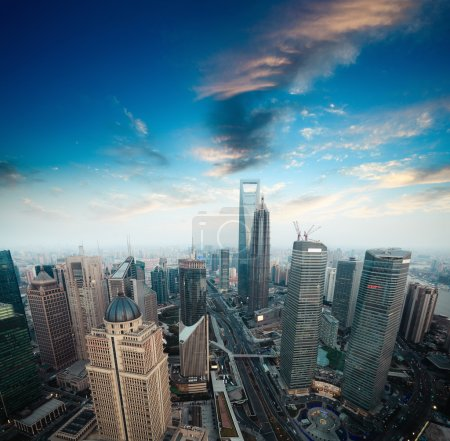 Photo for A bird's eye view of shanghai financial center at dusk - Royalty Free Image