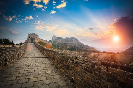 the great wall with sunset glow