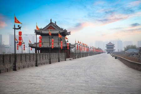 Photo for Ancient tower at dusk in xian city wall ,China - Royalty Free Image