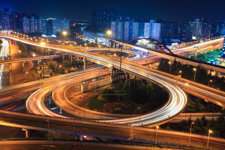 Photo for Interchange in shanghai at night,clover stack type overpass - Royalty Free Image