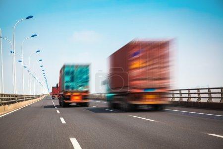 container truck on the cross-sea bridge