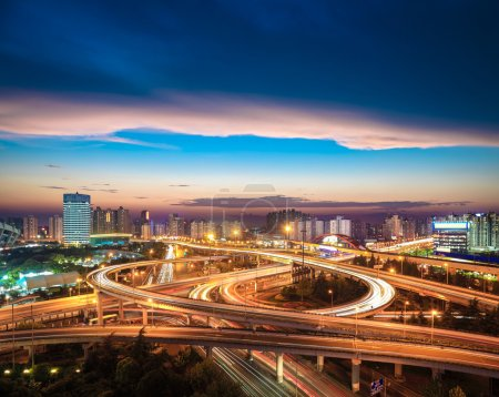 Photo for Beautiful city interchange overpass at nightfall in shanghai - Royalty Free Image