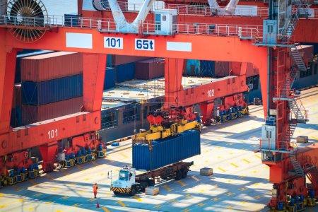 Photo pour Opération de conteneur dans le port maritime de Shanghai - image libre de droit