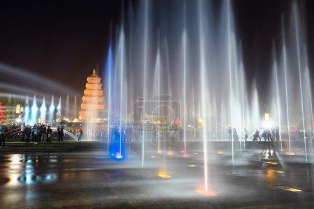 beautiful fountains at night in xian