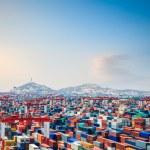 Container yard at dusk in shanghai yangshan deepwa...