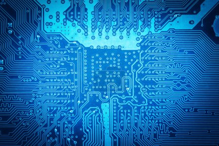 Photo for Blue computer circuit board as abstract technology backgroun - Royalty Free Image