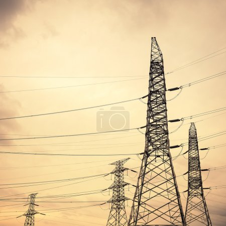 Photo for High voltage transmission pylon closeup,industrial energy backgroun - Royalty Free Image