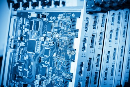 Photo for A group of blue telecommunication terminal board closeu - Royalty Free Image