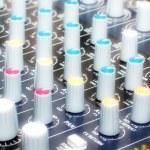 Control panel voice mixer as part stage sound equi...
