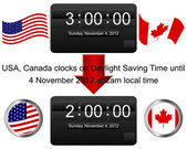 Daylight saving time ends sunday november 4 2012 at 2 am Icon of an electronic clock Vector