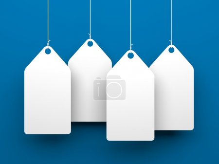 Photo for White tags on blue background. Conceptual 3d illustration - Royalty Free Image