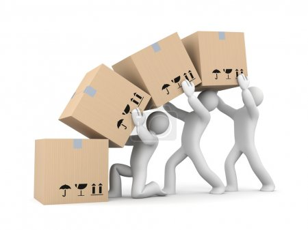 work with boxes. Teamwork