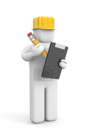 Worker with pencil and clipboard