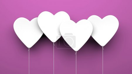 Heart Balloons on purple background
