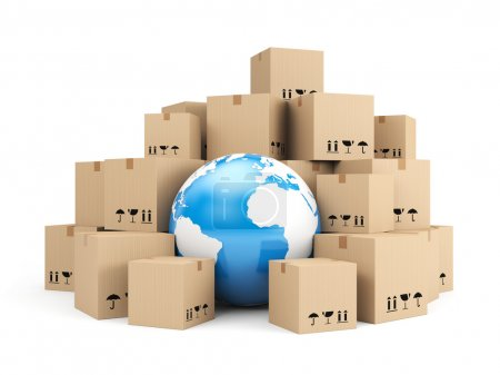 Photo for Global delivery. Heap of cardboard boxes - Royalty Free Image