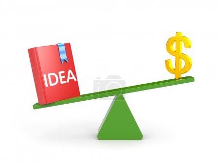 Photo pour Métaphore de la finance. l'idée est plus importante que l'argent - image libre de droit