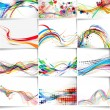 Set of abstract wave line poster with space of you...