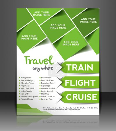Illustration for Vector Travel center brochure, flyer, magazine cover & poster template - Royalty Free Image