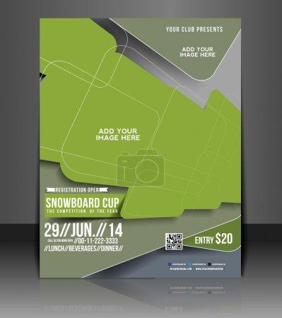 Foto de Folleto Copa snowboard, portada de la revista aviador & plantilla de cartel - Imagen libre de derechos