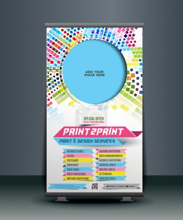 Illustration for Print Shop Roll Up Banner Design - Royalty Free Image