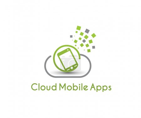 Illustration pour Symbole du nuage mobile apps, illustration vectorielle - image libre de droit