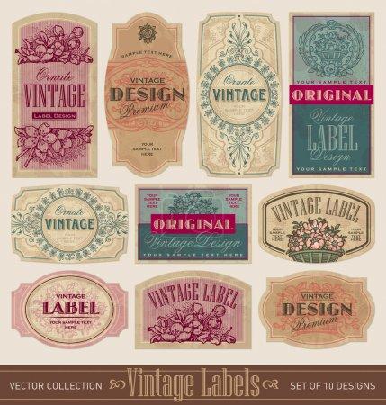 Illustration for Set of 10 vintage label designs, vector (eps). Grunge effect in separate layer. - Royalty Free Image