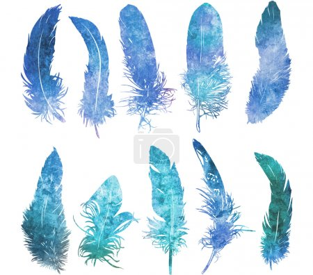 Photo for Hand drawn watercolor  feather light blue set, raster illustration - Royalty Free Image