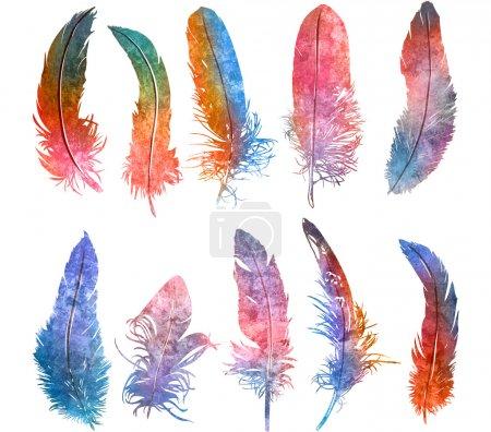 Photo pour Aquarelle dessinée à la main plume lumière arc-en-ciel couleurs ensemble, illustration raster - image libre de droit