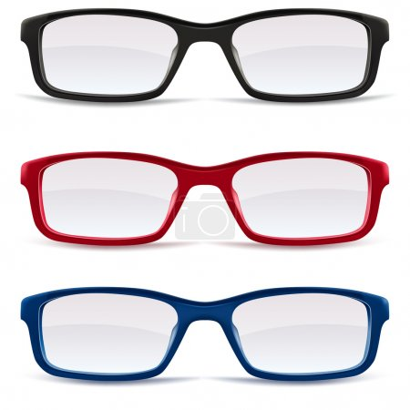 Eyeglasses, black, red and blue
